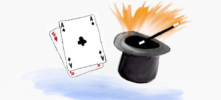 Magicians hat and playing cards