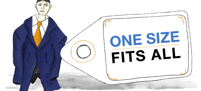 alt Picture of a boy wearing oversized clothes, with a message reading One Size Fits All - Transport visualiser